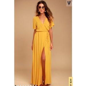 Golden Yellow Wrap Maxi Dress Lulus